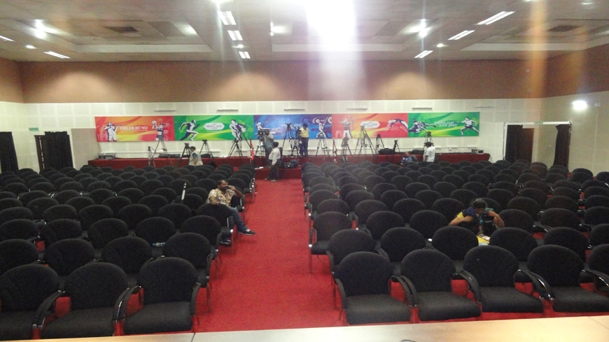 CONFERENCE HALL WITH CAMERA POSITIONS AT MPC FOR CWG 2010, DELHI