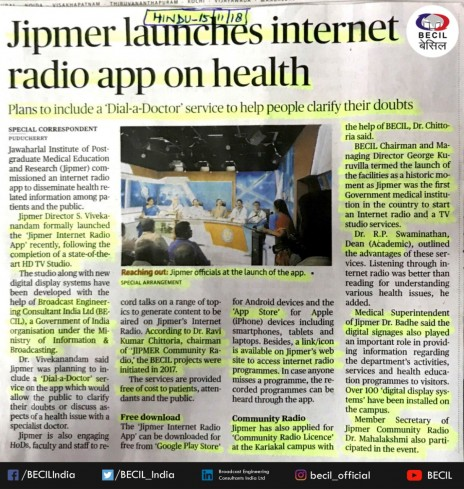 BECIL CMD Mr. George Kuruvilla at Jipmer launches internet radio app on health