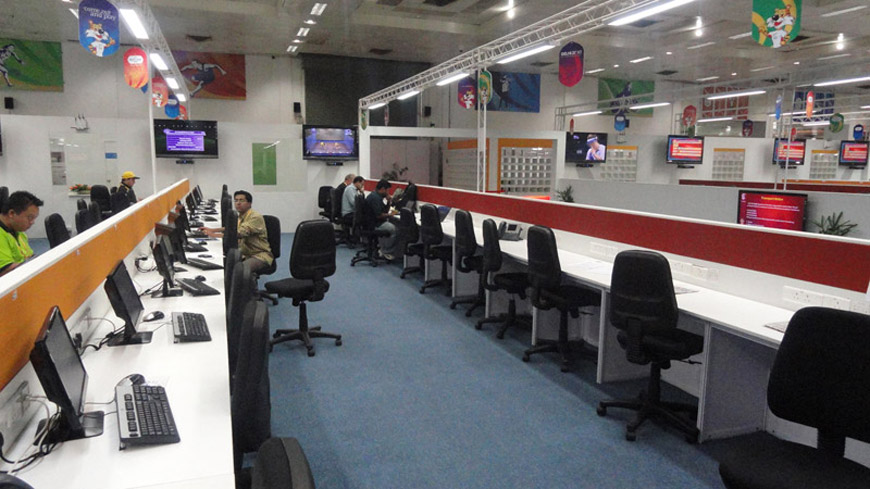 WORKING AREA OF REPORTERS IN MAIN PRESS CENTRE, CWG 2010