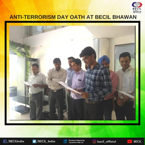 ANTI TERRORISM DAY OATH AT BECIL BHAWAN